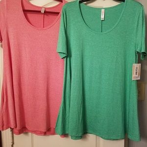 NWT LuLaRoe solid green OR coral Perfect T sz SM